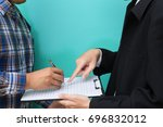 businessman and manager with... | Shutterstock . vector #696832012