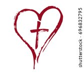 christian red cross and heart... | Shutterstock .eps vector #696832795