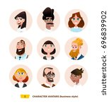 characters avatars in cartoon... | Shutterstock .eps vector #696839902
