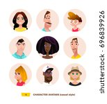characters avatars in cartoon... | Shutterstock .eps vector #696839926