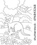 coloring pages. mother kangaroo ... | Shutterstock .eps vector #696843268