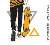 stylish skater in jeans and... | Shutterstock .eps vector #696854428