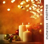 christmas candles and ornaments ... | Shutterstock . vector #696859408