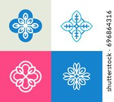 abstract floral icons and logo... | Shutterstock .eps vector #696864316