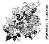 koi fish and chrysanthemum...   Shutterstock .eps vector #696865486