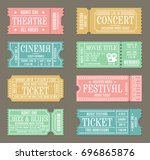 vintage ticket template set for ... | Shutterstock .eps vector #696865876
