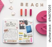 beach concept and personal diary | Shutterstock . vector #696870205