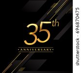 thirty five years anniversary... | Shutterstock .eps vector #696870475