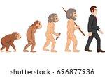 cartoon human evolution | Shutterstock .eps vector #696877936