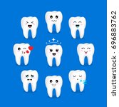 set of cute cartoon tooth... | Shutterstock .eps vector #696883762