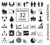 business 32 icons. graph ... | Shutterstock .eps vector #696883906
