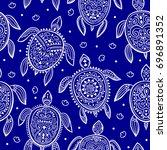tribal turtle pattern   Shutterstock .eps vector #696891352