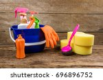 full box of cleaning supplies... | Shutterstock . vector #696896752