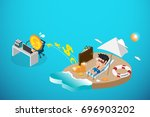 isometric happy businessman and ... | Shutterstock .eps vector #696903202