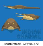 Indian Gharial Cartoon Vector...