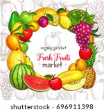 fruit frame border for food... | Shutterstock .eps vector #696911398