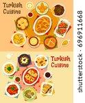 turkish cuisine dinner icon set.... | Shutterstock .eps vector #696911668