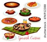 spanish cuisine traditional... | Shutterstock .eps vector #696912388