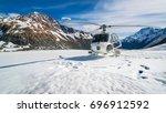helicopter landing on snow...   Shutterstock . vector #696912592