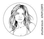 portrait of girl in style pop... | Shutterstock . vector #696912895