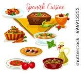 spanish cuisine tasty dinner... | Shutterstock .eps vector #696913252