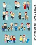 family activity cartoon set....   Shutterstock .eps vector #696913636