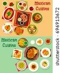 mexican cuisine menu icon set....   Shutterstock .eps vector #696913672