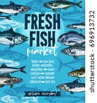 fresh fish welcoming banner for ... | Shutterstock .eps vector #696913732