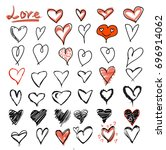 hearts black red sketched | Shutterstock .eps vector #696914062
