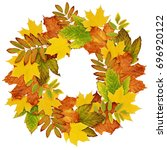autumn wreath from dry colored... | Shutterstock . vector #696920122