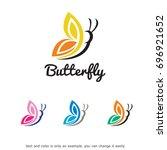 butterfly logo template design... | Shutterstock .eps vector #696921652