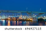 factory in houston  tx night... | Shutterstock . vector #696927115