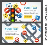 road sign drive school flyer... | Shutterstock . vector #696933016