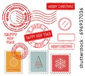 set of christmas and new year... | Shutterstock .eps vector #696937036
