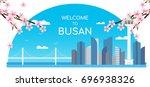 welcome to busan banner vector... | Shutterstock .eps vector #696938326