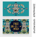two banners with hamsa symbol... | Shutterstock .eps vector #696944602