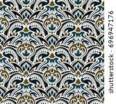 Stock vector boho flower pattern 696947176