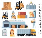 merchandise warehouse and... | Shutterstock .eps vector #696949015