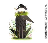 black wolf and crow sitting on... | Shutterstock .eps vector #696951976