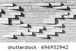 grey brick wall background with ... | Shutterstock . vector #696952942