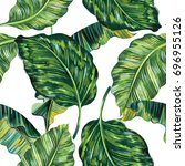 tropical leaves  jungle leaf... | Shutterstock . vector #696955126