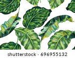 tropical leaves  jungle leaf... | Shutterstock . vector #696955132