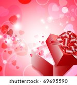 valentine gift box with ribbon... | Shutterstock .eps vector #69695590