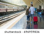 back side of multiethnic... | Shutterstock . vector #696959836