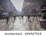 crowd of anonymous people... | Shutterstock . vector #696967018