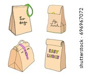 eco bag  my lunch  eat it all ... | Shutterstock .eps vector #696967072