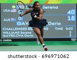 Small photo of RIO DE JANEIRO, BRAZIL - AUGUST 7, 2016: Olympic champion Serena Williams of United States in action during singles first round match of the Rio 2016 Olympic Games at the Olympic Tennis Centre