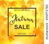autumn sale banner  beautiful... | Shutterstock .eps vector #696971782