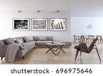 modern bright interiors. 3d... | Shutterstock . vector #696975646