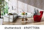 modern bright interiors. 3d...   Shutterstock . vector #696977086